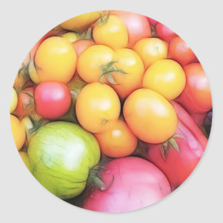 ¡Tiempo de cosecha - tomates! Etiqueta Redonda