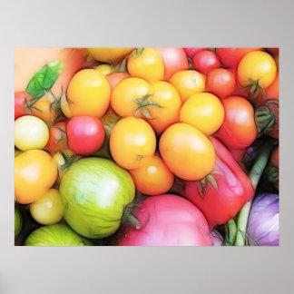 ¡Tiempo de cosecha - tomates! Póster