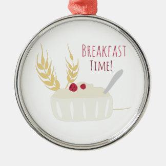 ¡Tiempo de desayuno! Adorno Redondo Plateado