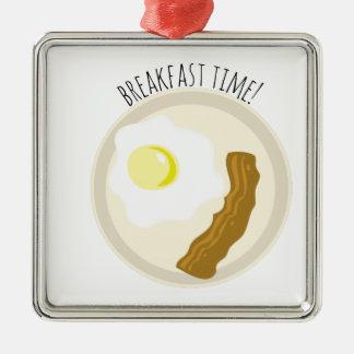 ¡Tiempo de desayuno! Adorno Cuadrado Plateado