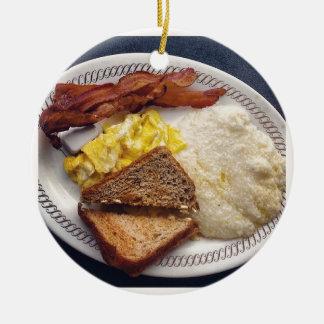 Tiempo de desayuno - el tocino Eggs arenas de la Adorno Redondo De Cerámica