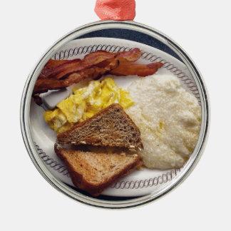 Tiempo de desayuno - el tocino Eggs arenas de la Adorno Redondo Plateado