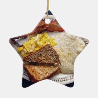 Tiempo de desayuno - el tocino Eggs arenas de la Adorno De Cerámica En Forma De Estrella