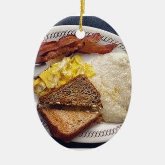 Tiempo de desayuno - el tocino Eggs arenas de la Adorno Ovalado De Cerámica