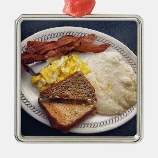 Tiempo de desayuno - el tocino Eggs arenas de la Adorno Cuadrado Plateado