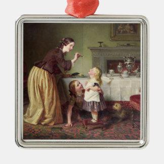 Tiempo de desayuno - juegos de la mañana (aceite adorno cuadrado plateado