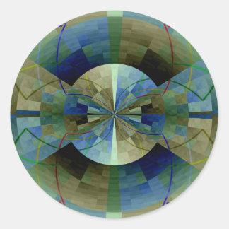 Tiempo de doblez pegatina redonda