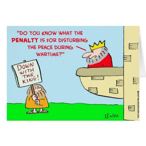 tiempo de guerra de la paz del rey que perturba tarjeta de felicitación