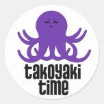 Tiempo de Kawaii Takoyaki Etiquetas Redondas