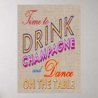 Tiempo de la arpillera para beber el poster de