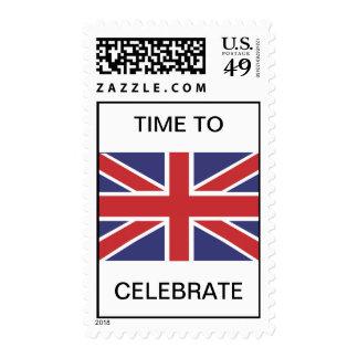 Tiempo de la bandera de Union Jack para celebrar Sello