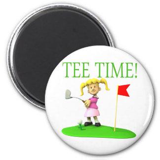 Tiempo de la camiseta imán redondo 5 cm
