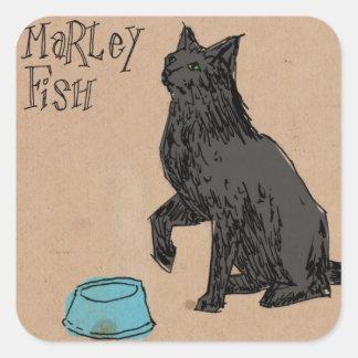 Tiempo de la cena de los pescados de Marley Calcomanías Cuadradass Personalizadas