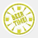 ¡Tiempo de la cerveza! Etiquetas Redondas