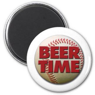 tiempo de la cerveza imán redondo 5 cm
