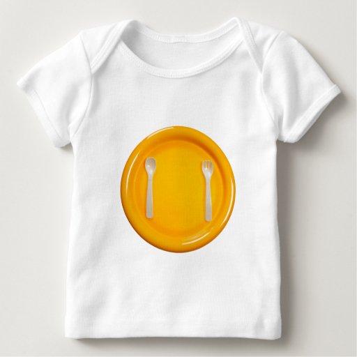 Tiempo de la comida de los niños playera de bebé
