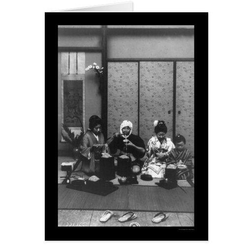 Tiempo de la comida en Japón 1909 Felicitacion