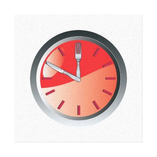 tiempo de la consumición de la cuchara y de la bif lienzo envuelto para galerías
