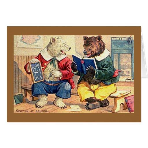 Tiempo de la escuela para los osos tarjeta de felicitación