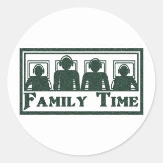 Tiempo de la familia pegatina redonda