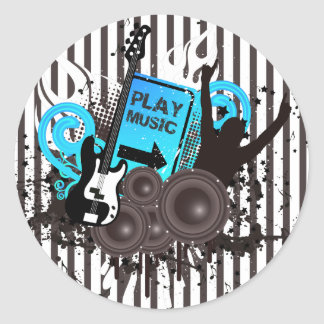 Tiempo de la guitarra y de los altavoces para ir etiquetas redondas