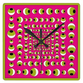TIEMPO de la ilusión óptica Reloj Cuadrado