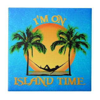 Tiempo de la isla azulejo cuadrado pequeño