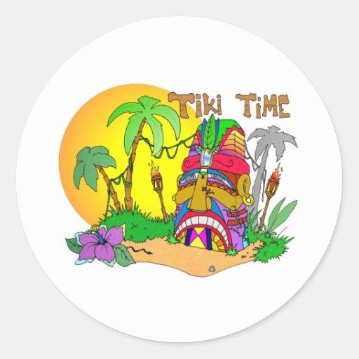 TIEMPO de la isla de TIKI Pegatina Redonda