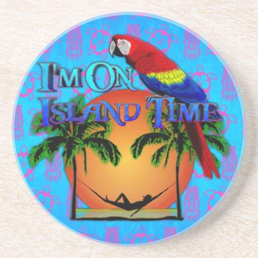 Tiempo de la isla en hamaca posavaso para bebida