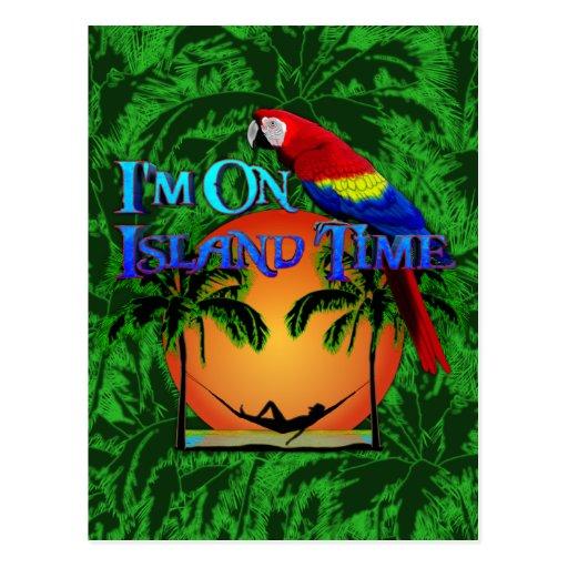 Tiempo de la isla en hamaca postales
