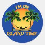 Tiempo de la isla etiqueta redonda