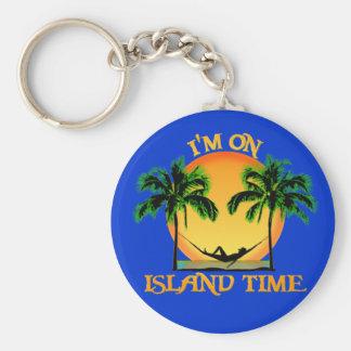 Tiempo de la isla llavero redondo tipo pin