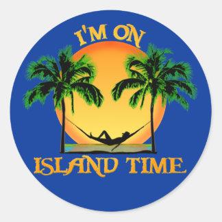 Tiempo de la isla pegatina redonda