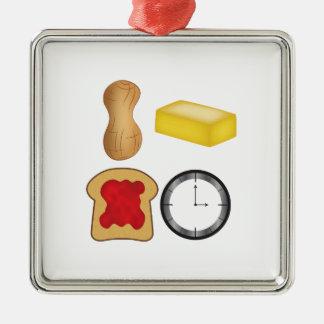¡Tiempo de la jalea de la mantequilla de Adorno Navideño Cuadrado De Metal