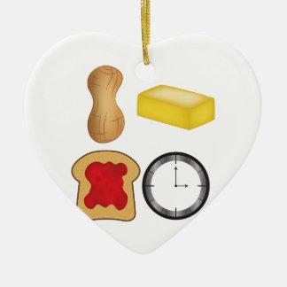 ¡Tiempo de la jalea de la mantequilla de Adorno Navideño De Cerámica En Forma De Corazón
