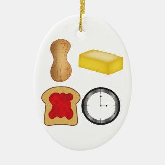 ¡Tiempo de la jalea de la mantequilla de Adorno Navideño Ovalado De Cerámica