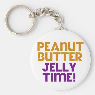 Tiempo de la jalea de la mantequilla de cacahuete llavero redondo tipo pin