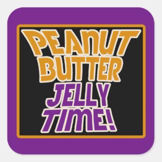 Tiempo de la jalea de la mantequilla de cacahuete pegatina cuadradas