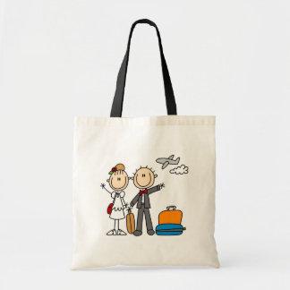 Tiempo de la luna de miel para el bolso de novia y bolsas lienzo