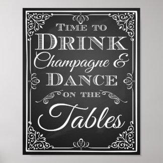 """Tiempo de la muestra del boda """"para beber la póster"""