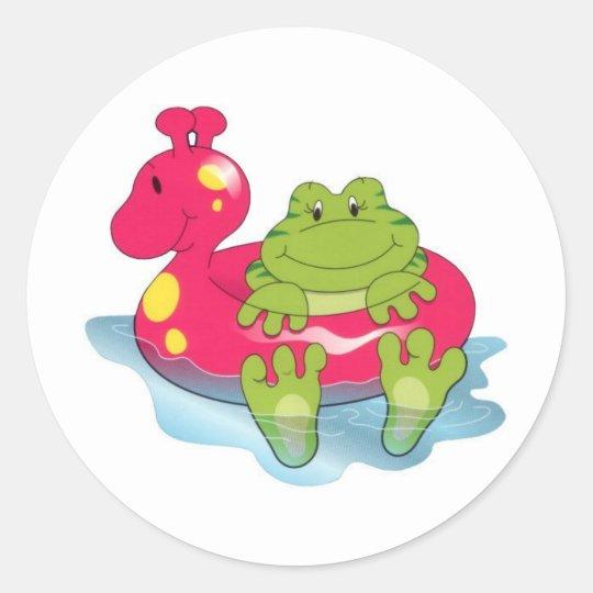 Tiempo de la piscina de la rana pegatina redonda