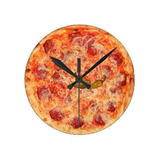 Tiempo de la pizza de salchichones reloj redondo mediano