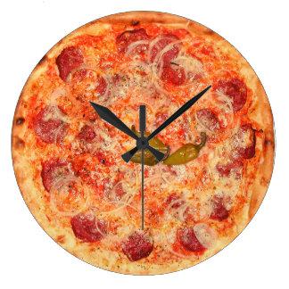 Tiempo de la pizza de salchichones reloj redondo grande
