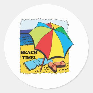 Tiempo de la playa pegatina redonda