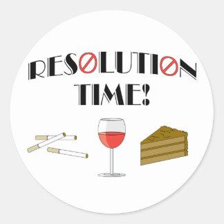 Tiempo de la resolución pegatina redonda