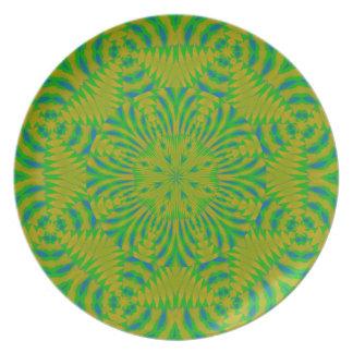 Tiempo de la selva en amarillo, verde y azul platos para fiestas