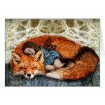 Tiempo de la siesta (Fox y niño) Tarjeta