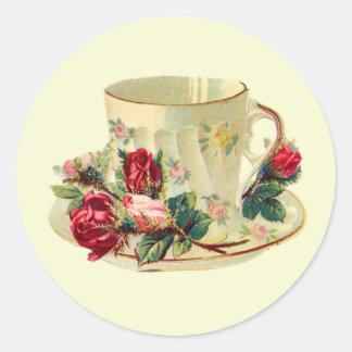 Tiempo de la taza de té pegatina redonda