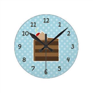 Tiempo de la torta de chocolate relojes de pared