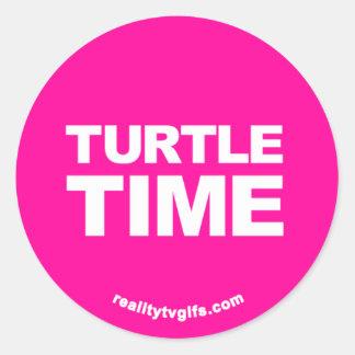 Tiempo de la tortuga - pegatinas etiquetas redondas